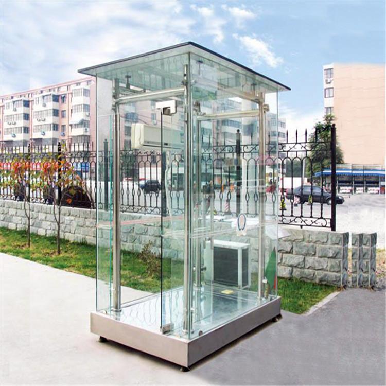 【典派】售楼处保安亭 钢化玻璃岗亭 不锈钢门卫站岗亭