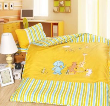 批发定做AB绣花幼儿园午睡被儿童新疆棉花被子婴儿床品六件套多用