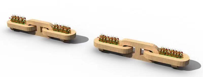 大型链条座椅组合花箱 组合式花箱 pvc花箱厂家 花箱订制 花箱定做