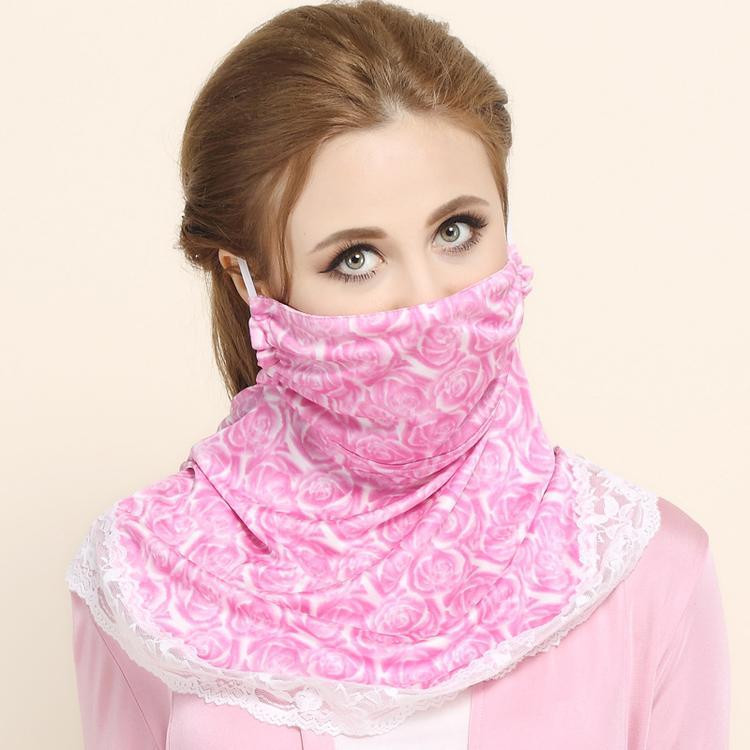 夏季新款真丝防晒面罩 女士护颈防紫外线防风防尘透气真丝口罩