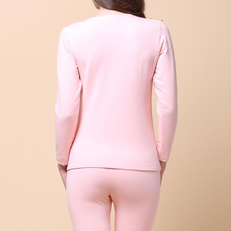 秋冬款女士 天然桑蚕丝加厚两件套 真丝拉绒保暖内衣套装 工厂直销