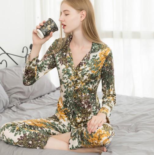 2020新品真丝睡衣套装女宽松大码长袖两件套桑蚕丝可外穿家居服