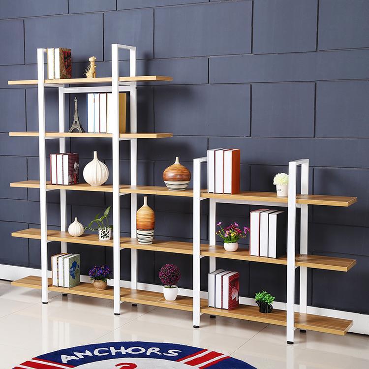 创意简易钢木书架 简约铁艺置物架精品货架展示架组合定制