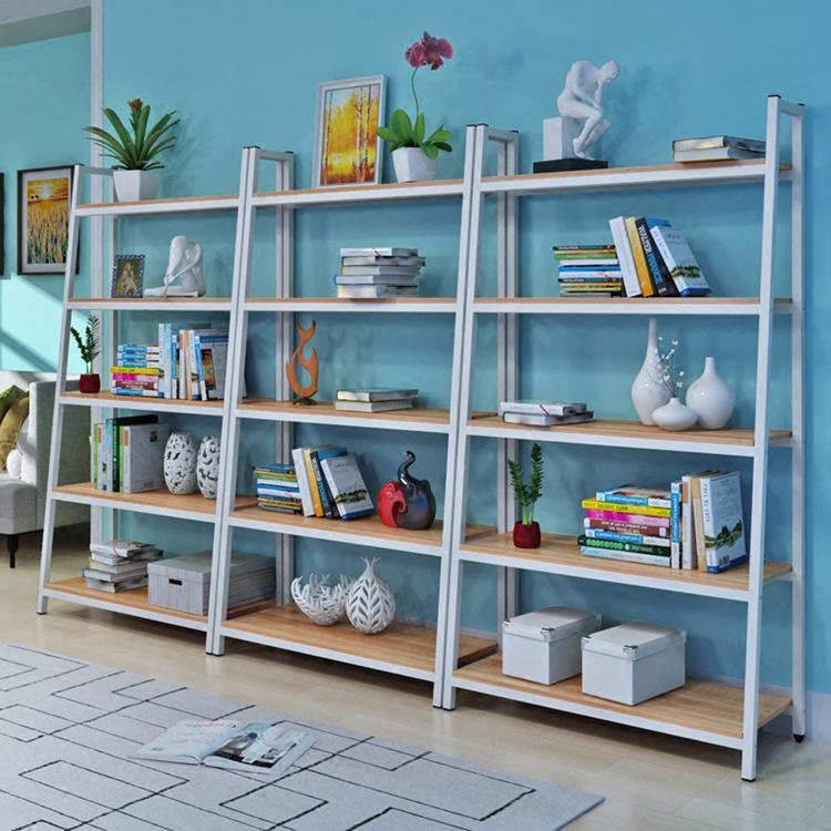 创意铁艺钢木书架落地简易置物架客厅书柜组合储物货架展示架
