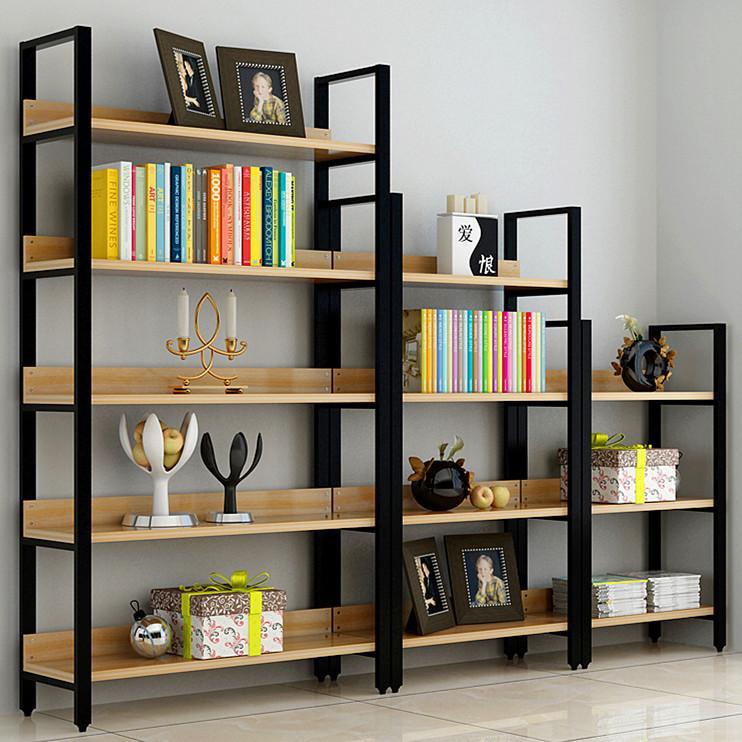 定做钢木书架简易铁艺货架墙上多层置物架客厅架子展示架书柜