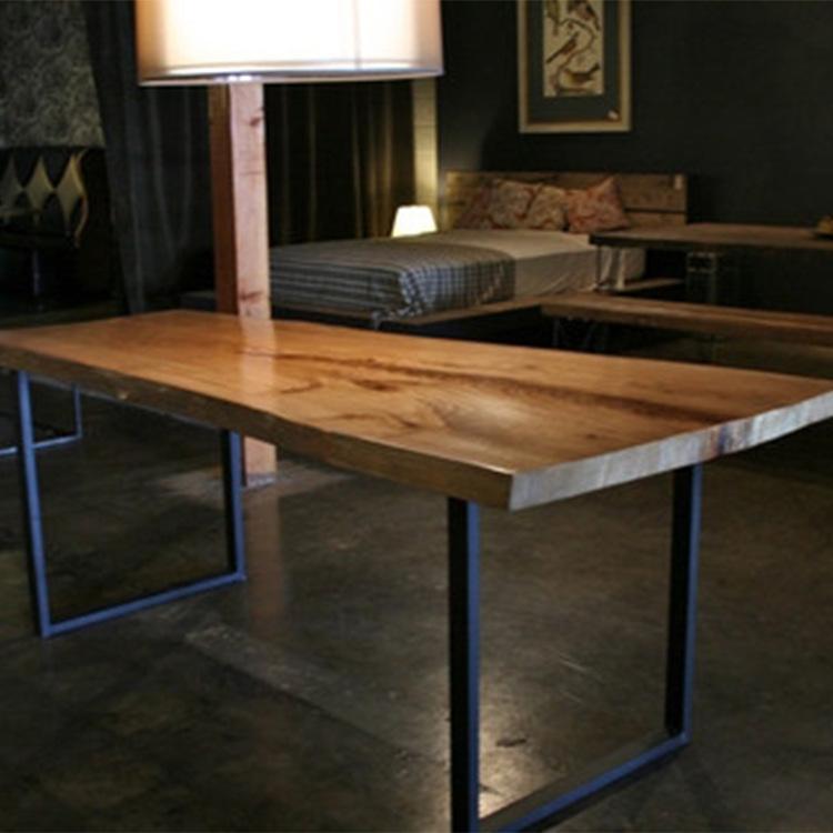 美式乡村仿古餐桌办公桌咖啡桌复古实木铁艺家具