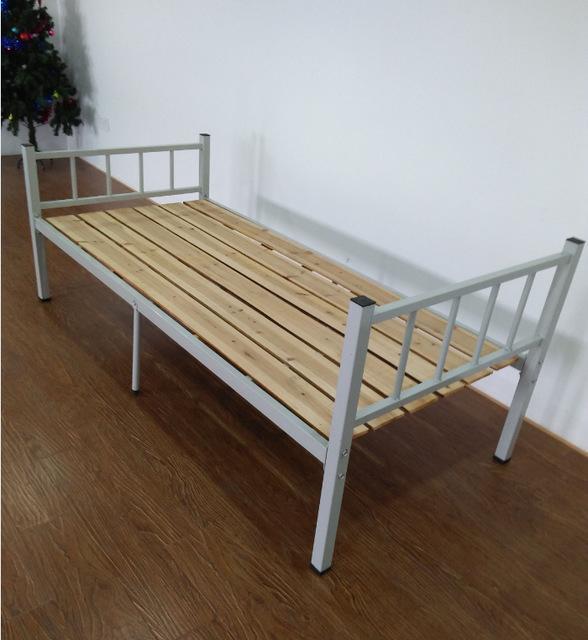 厂家批发简约单层钢木床单人午休家用客房出租屋办公室双人铁架床000500005