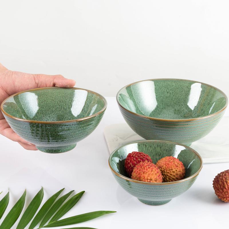 绿色套碗 高脚碗 早餐碗