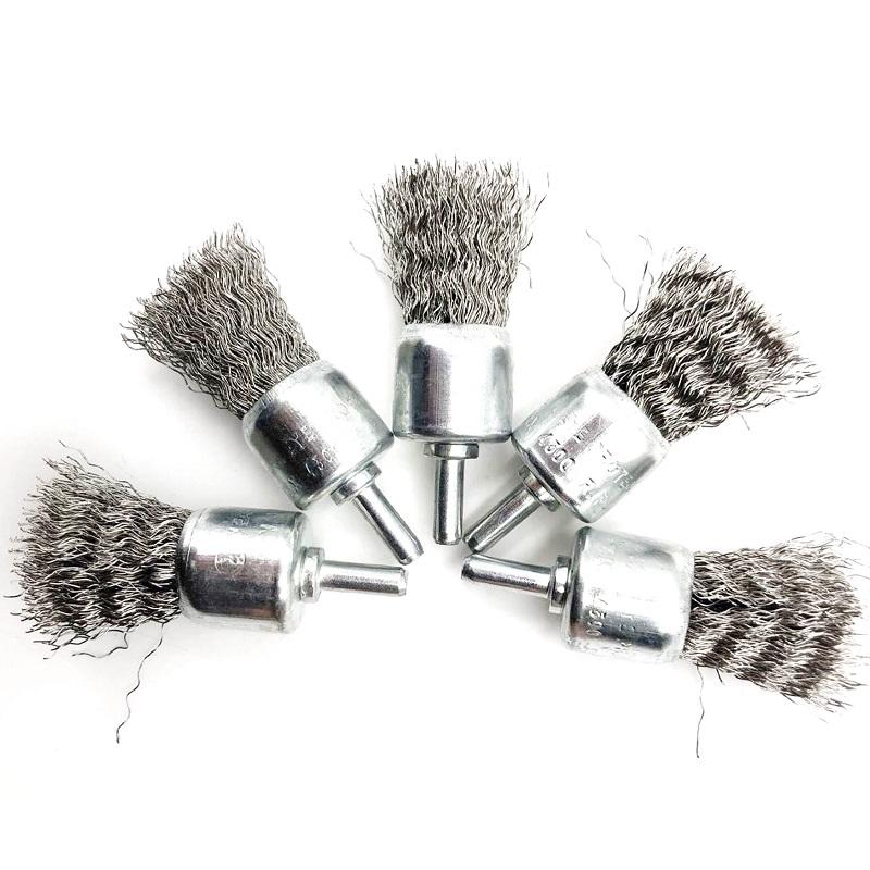 201不锈钢丝笔刷打磨头 带杆不锈钢丝刷头 除锈去毛刺抛光刷6*25m