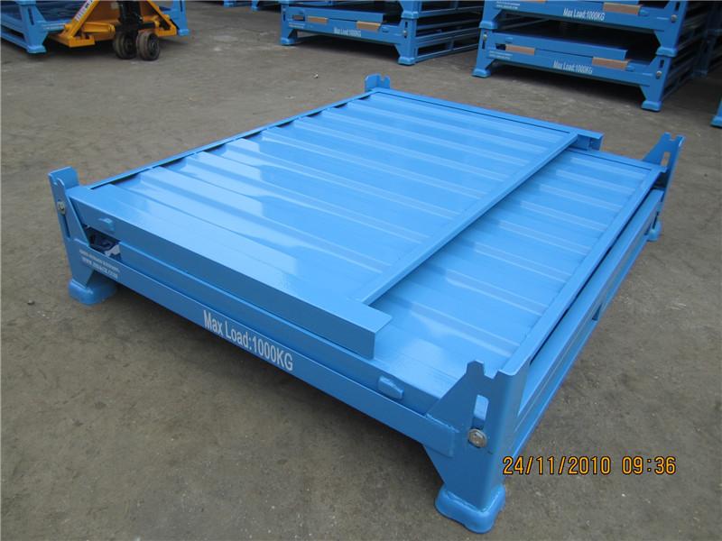 整板料箱 可折叠周转箱 仓库货架托盘式金属料箱  物流周转铁皮箱 金属周转箱