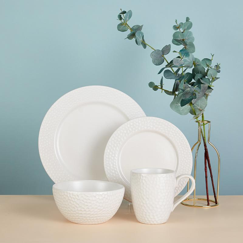 白沙  一人食  四件套  8寸平盘 11寸平盘 马克杯 沙拉碗 纯白餐具