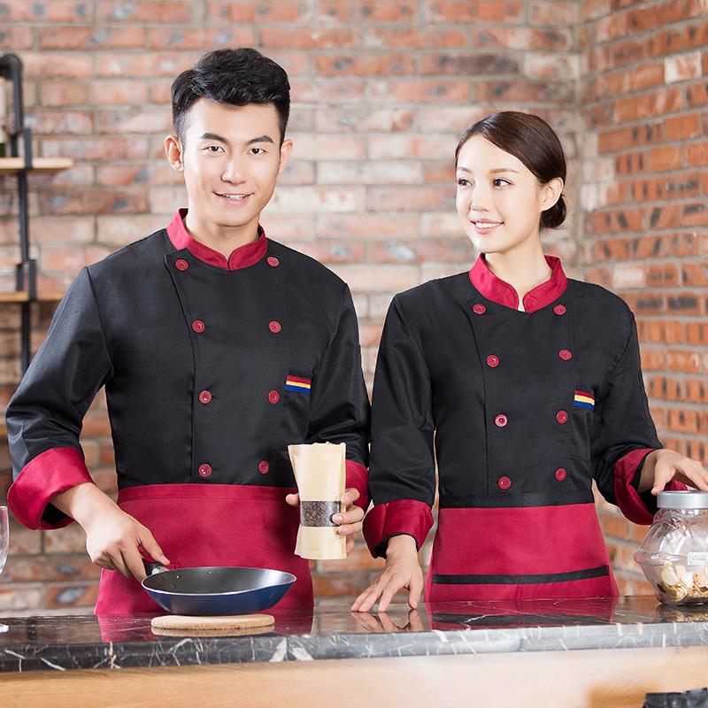 厨师工作服男秋冬装长袖学校厨房餐厅酒店火锅饭店冬季工衣铁板烧